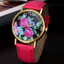 Vogue beautiful Women's watch  Leather Rose Floral Printed Analog Quartz Wrist elegant and charming Watch HOT Free Shipping NA24
