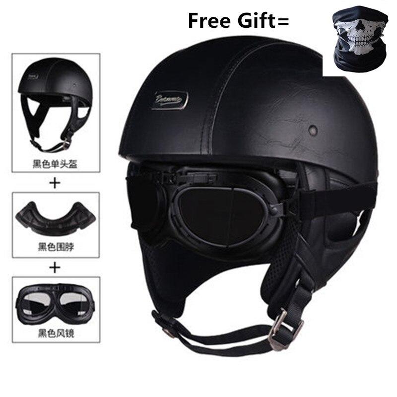 Image 3 - Skull Cap Motorcycle Helmet Vintage Half Face Helmet Retro German Style chopper Cruiser-in Helmets from Automobiles & Motorcycles