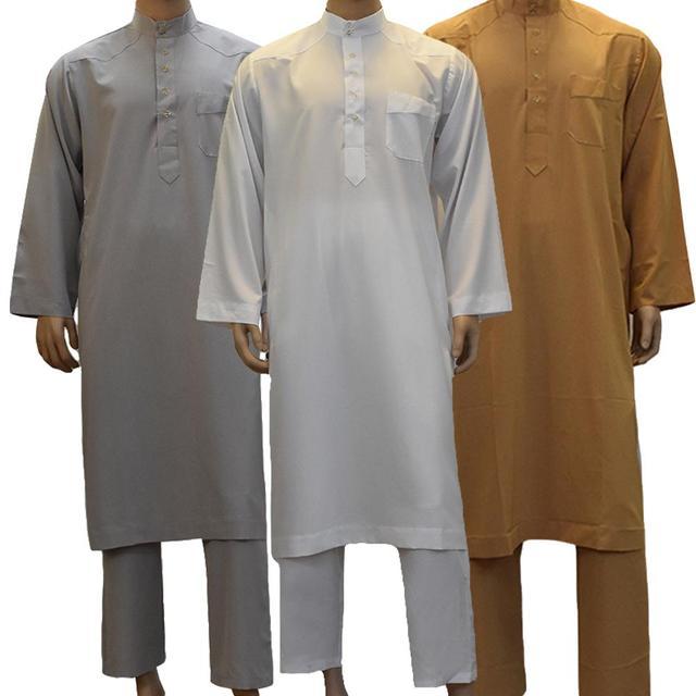 2 個イスラムサウジアラビアメンズアバヤイスラム教徒アラビアローブ + パンツドバイトーブカフタンドレス Dishdasha Thoub Jubba スタンド襟スーツ