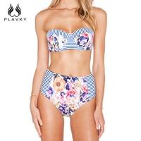 Sexy Female Floral Micro Brazilian Push Up Bikini Swimwear Split Tanga Bandeau Bathing Suit Women Swimsuit