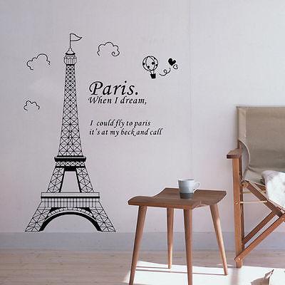 New Paris Eiffel Tower Vinyl Art Decal Mural Home Room Wall Sticker Decor 2