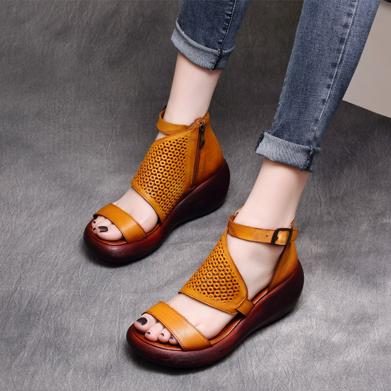Women Leather Gladiator Sandals Wedges Heels 7 Cm High Heels Summer Shoes Embroidery Genuine Leather Women Sandals Handmade Shoe