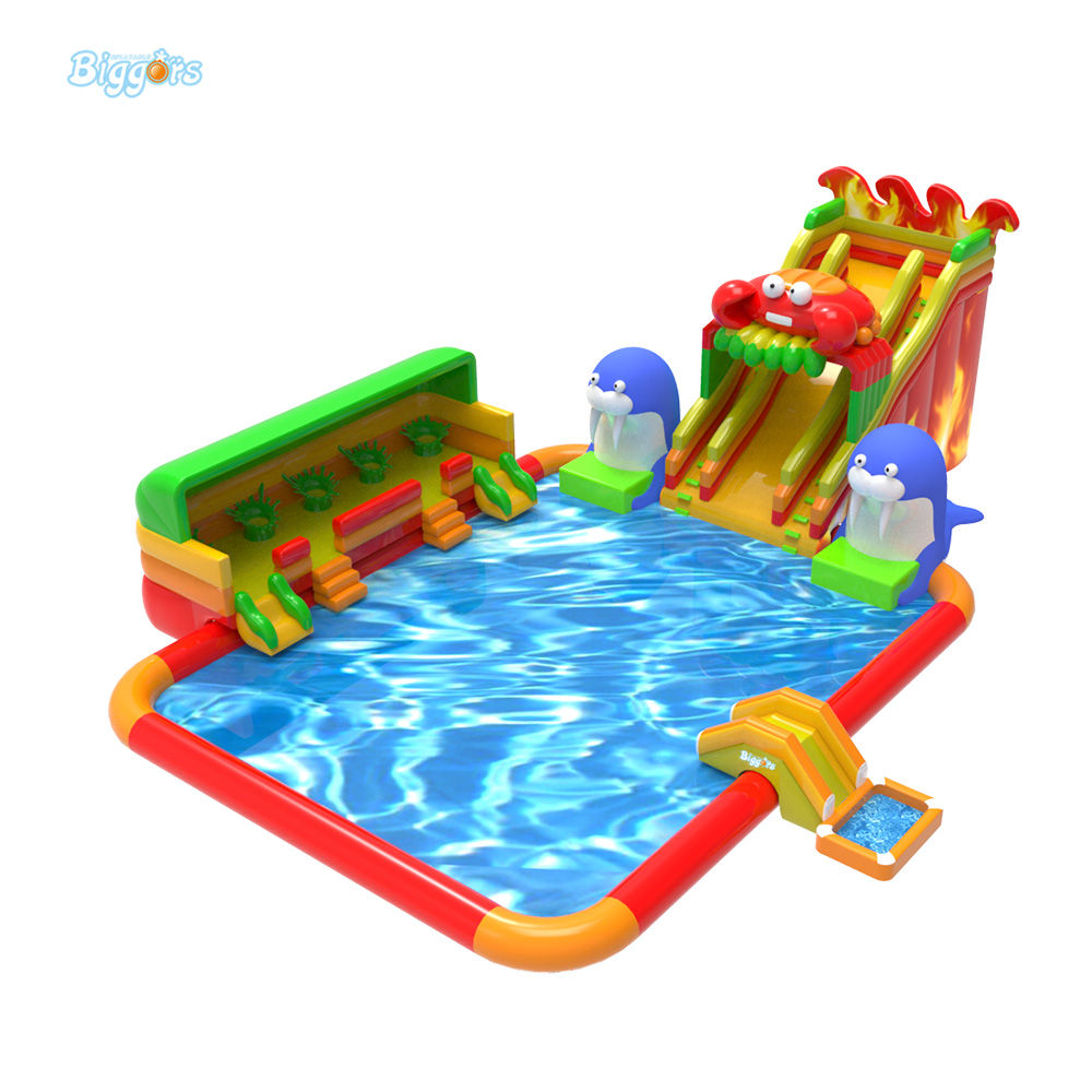 Outdoor Gonflable Inflatable Water Slide With Pool Giant Water Park For Sale jungle commercial inflatable slide with water pool for adults and kids