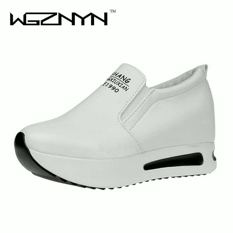 Female Slip On Elastic Band Platform Height Increasing Black White Autumn Wedges 2018 Women Fashion Casual Shoes woman sneakers bohemia plus size 34 41 new fashion wedges sandals slip on elastic band casual platform shoes woman summer lady shoes shallow