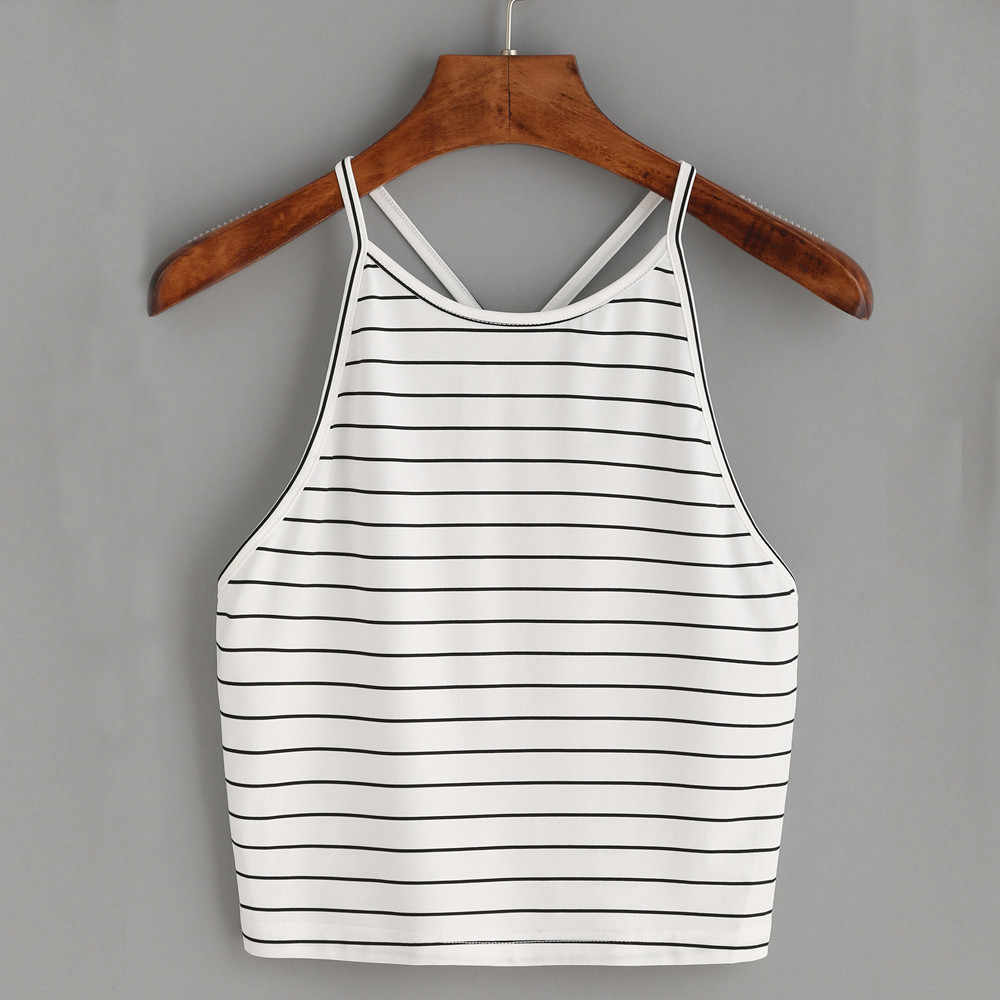 Summer Fashion Women Ladies Striped Cotton Cami Sexy Tops Camisole Sexy Vest Crop Top T-Shirt Tank Vest Summer Fashion Clothes