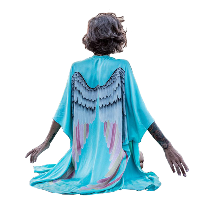 Women Summer Back Angel Wings Print Cardigan Kimono Batwing Sleeve Coat European Loose J ...