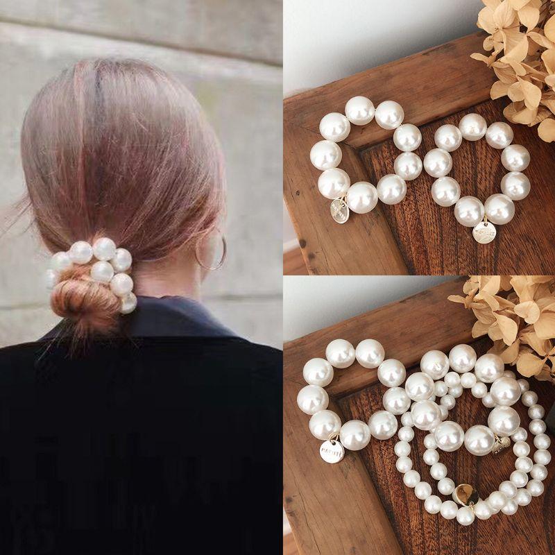 Korean Imitation Pearl Beading Hair Ties Women Metal Pendant Charms Elastic Bracelet DIY Hair Styling Decorative Ponytail Holder