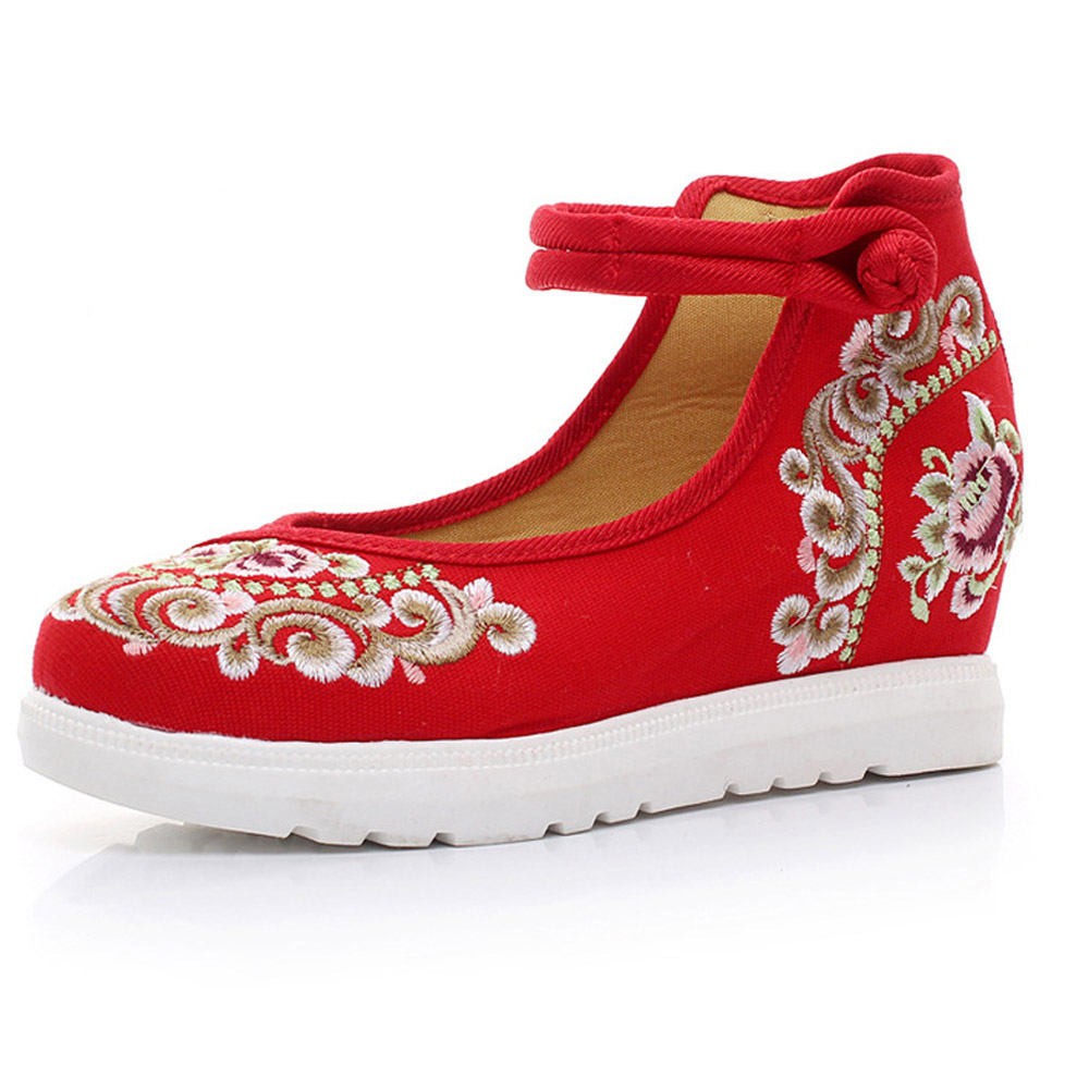 Vintage Women Pumps Floral Embroidered Casual Canvas Platforms Cotton Fabric Leisure Ethnic Shoes for Woman vintage women pumps flowers embroidered ankle buckles canvas platforms ladies soft casual old beijing shoes zapatos mujer