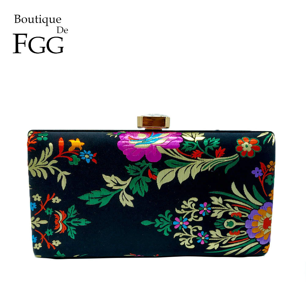 Boutique De FGG Chinese Traditional Style Flower Embroidery Women Tassel Evening Clutch Handbags Ladies Party Day Clutches Bags|Top-Handle Bags| |  - title=