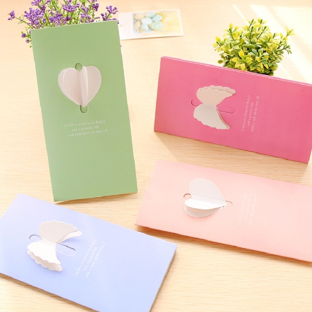Pure Color 3d Pop Up Heartwing Card Wholesale Birthday Cards In