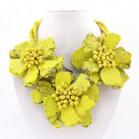 Fashionable African Beaded Yellow Necklace,Party Necklace,Bridesmaid Necklace,Statement Necklace,beautiful Jewelry