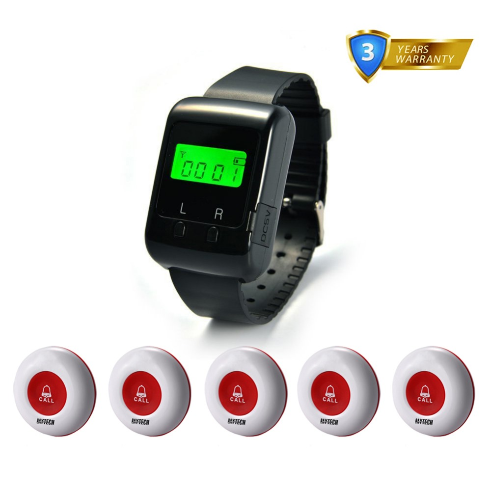 Wireless Call Button Buzzer 433MHZ Restaurant Hospital Waiter Calling System Service Wrist Watch Pager system service call bell pager system 4pcs of wrist watch receiver and 20pcs table buzzer button with single key