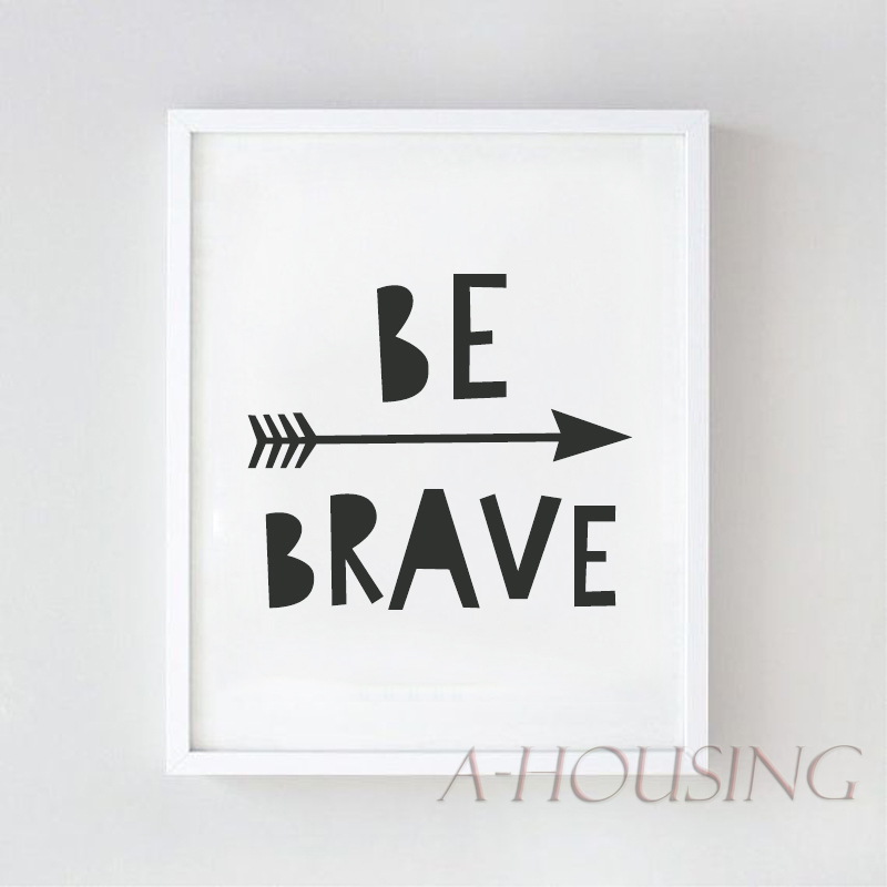 Cartoon be brave quote canvas art print painting poster wall pictures nursery home decoration wall decor 195 in painting calligraphy from home garden