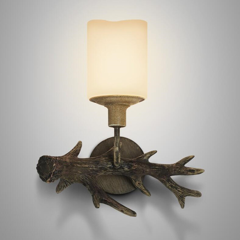 Abajur Living Room Bedroom Countryside American Village Restaurant Retro Wall Light Bedside Resin Antlers LED Wall Lamp Fixtures