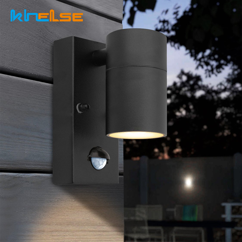 PIR Motion Sensor Outdoor LED Wall Light Waterproof Stainless Steel 220V Wall Lamp At Night Body Motion Sensor Activated Lights
