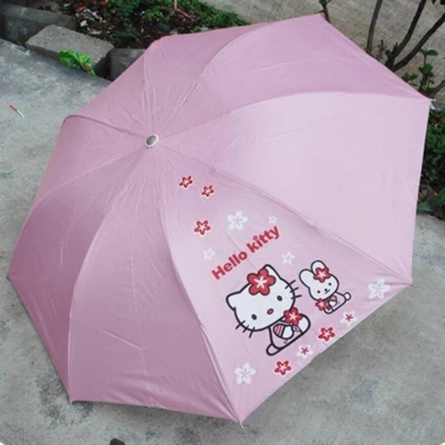 Wine Sun And Rain Umbrella Small Hello Kitty Mini Folding Umbrella Parapluie Rain Coat Children Sombrilla Playa Sunshade50D0323