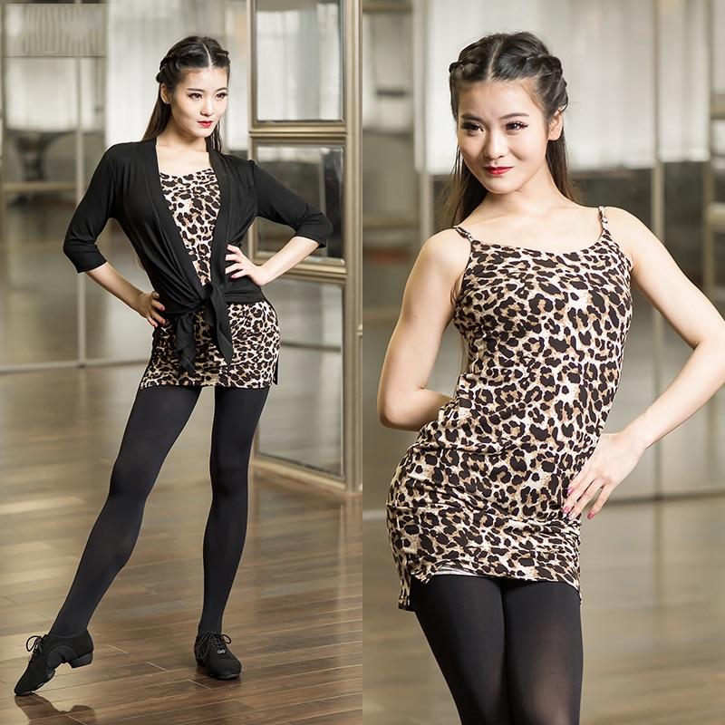 Adult Woman Latin Dance Harness Shirt Leopard/Black Sexy Dancing Tops Practice Costume Ballroom Tango Samba Dance Wear DN1198