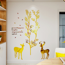 3D creative Nordic style Christmas deer Acrylic wall sticker Restaurant living room poster entrance bedroom wall decoration 3d deer wall sticker