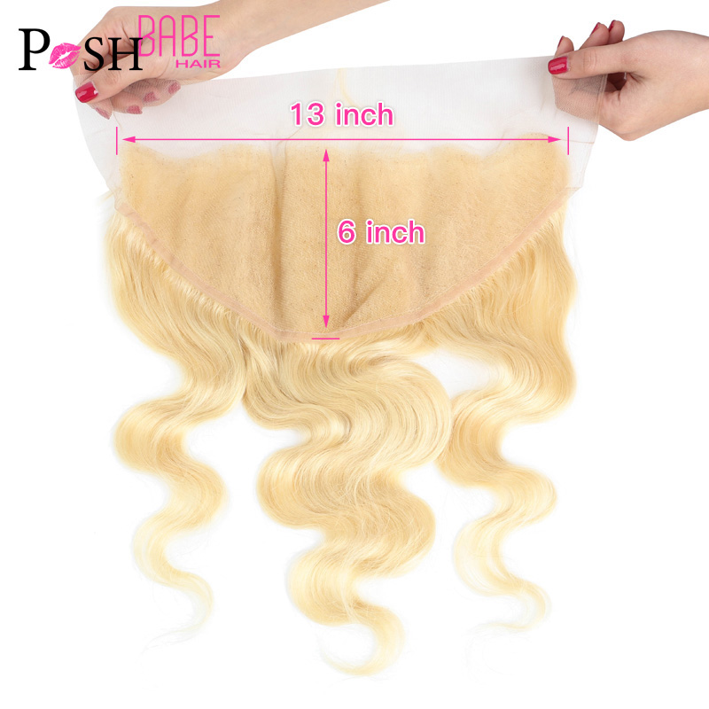 613 Blonde Platinum Color Brazilian Body Wave Human Hair Closure Frontal 8 - 22 Inch Pre Plucked 13x6 Lace Frontal Bleached Knot