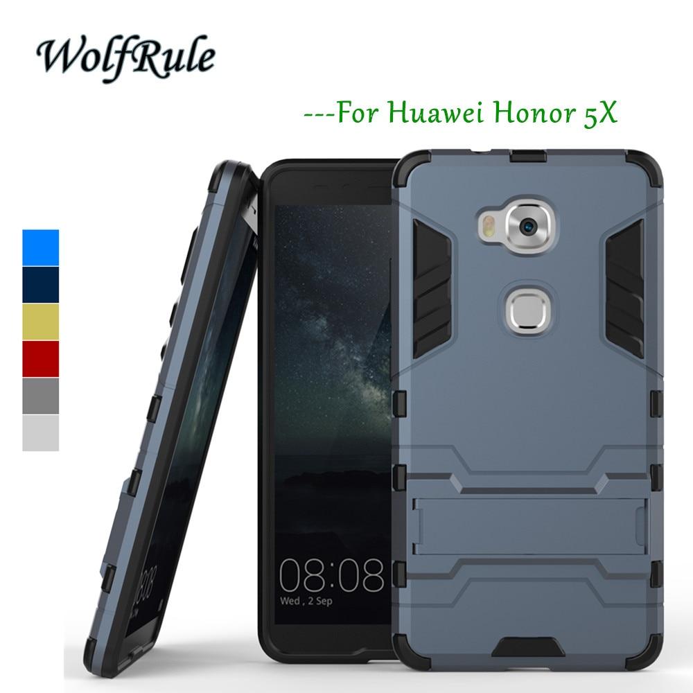 Husa anti-knock WolfRule Husa Huawei Honor 5X Husa Moale din silicon și plastic Husa pentru Huawei Honor 5X Titular Telefon Coque Funda <{