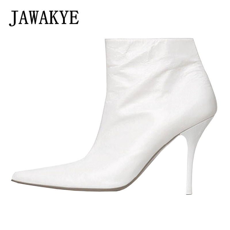 White Genuine leather Ankle Boots Women Heel Pointed toe back V shaped Thin high heels Ladies Winter Boots Chelsea Femininas женские блузки и рубашки hi holiday roupas femininas blusa blusas femininas