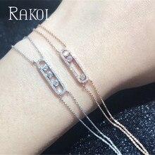 RAKOL Fashion Luxury Mother Bracelet Chain White Move CZ Stone Crystal Wedding New Energy For Woman Jewelry