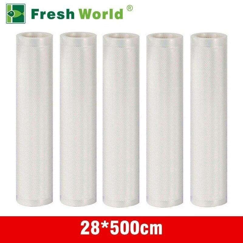 28*500 CM Vakuum Verpackung Rollen Für Lebensmittel Vakuumiergerät Tasche Lagerung Saran Wrap Kostenloser Küche Lebensmittel Vakuum Rollen frisches World