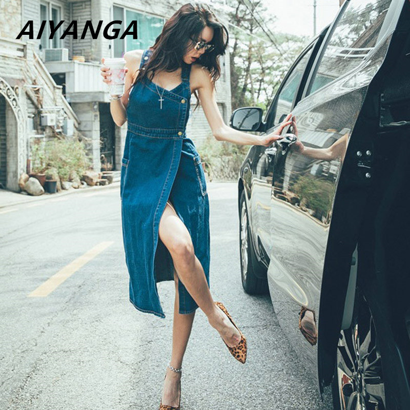 2018 Chic Sexy Sleeveless Spaghetti Strap Cotton Jeans Dress Women Pockets Long Denim Sundress Overall Summer Dress High Quality