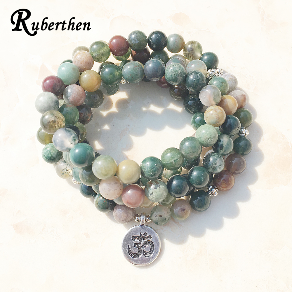 Ruberthen Top Sale Aliexpress Women`s Wrap Bracelet Trendy India Stone Bracelet or Necklace 108 Mala Fancy Stone Beads Bracelet