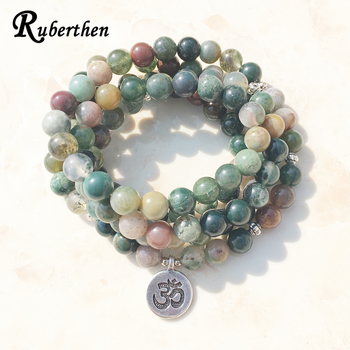 Женский браслет с подвеской Ruberthen, Модный Индийский браслет с камнями или ожерелье, 108 Mala, причудливые каменные бусы, браслет, лидер продаж Aliexpress