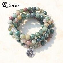Ruberthen Top Verkauf Aliexpress frauen Wrap Armband Trendy Indien Stein Armband oder Halskette 108 Mala Phantasie Stein Perlen Armband