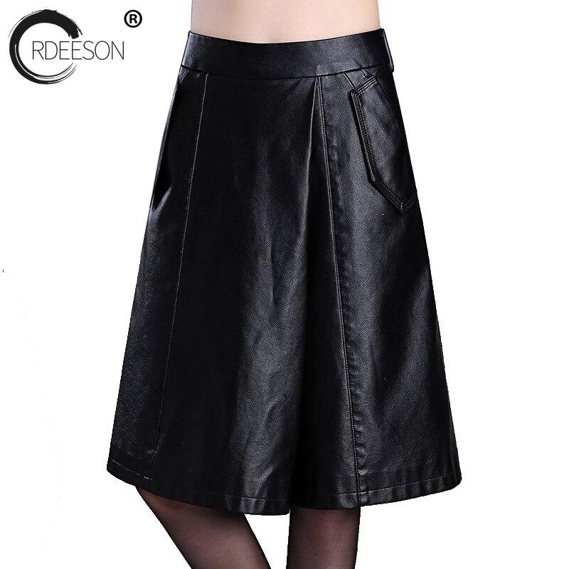 ORDEESON cuir synthétique polyuréthane noir pantalon taille haute pantalon ample jambe large haute qualité femmes mode 2018 grande taille genou longueur printemps