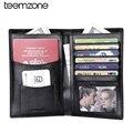 teemzone Business Men's Genuine Leather Passport  Bifold Wallet Travel Credit Card Holder Organizer Black Bifold Q288