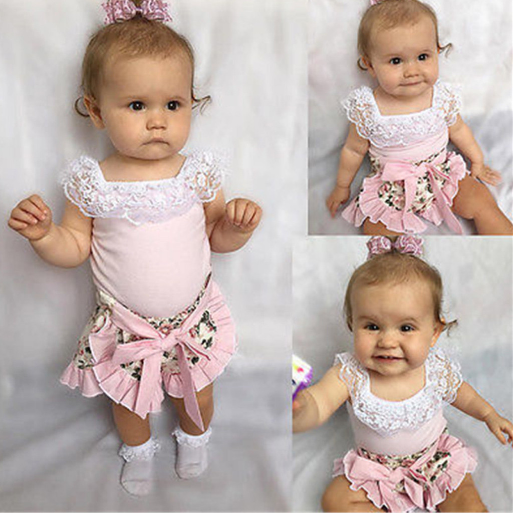 MUQGEW Baby Girl Clothes Summer Infant Baby Girls Sleeveless Lace Tops + Floral Print Frill Shorts Dropshipping Roupa Infantil