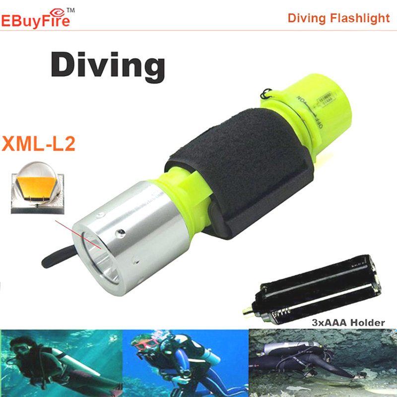 18650 3x AAA Diving Flashlight XM-L T6 L2 2000LM Underwater  Torch  Waterproof LED light lamp 3 mode lights archon d10xl 3 mode white diving flashlight underwater torch waterproof led light with xm l u2 1 x 18650