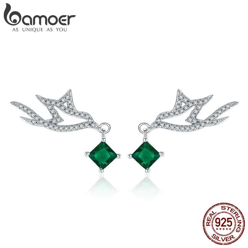 BAMOER High Quality 925 Sterling Silver Green CZ Geometric Shape Stud Earrings for Women Engagement Jewelry Making Gift BSE002 браслет с брелоками bamoer 50