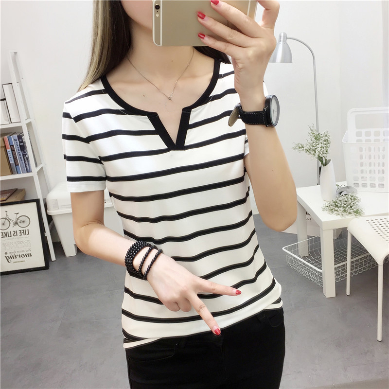 Womens Stripes   T  -  Shirt   V Collar   T     Shirts   Skinny Half Sleeve Clothes Women Slim Under Wear Tshirt Casual Top Tees For Female