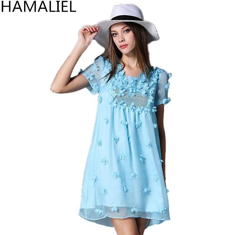 Summer Women Loose Mini Dress 2017 Casual Light Blue Chiffon Beading Sequined Appliques Flower Female Short Sleeve Party Dress