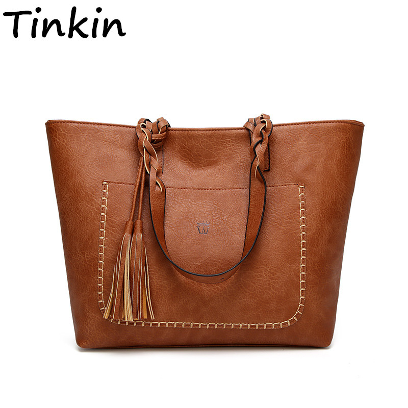 Tinkin Women Vintage PU Tassel Shoulder Bag Female Retro Daily Causal Totes Lady Elegant Shopping Handbag All-match Dames Tassen vvmi 2016 new women handbag brand design rivet suede tassel bag chic classic vintage saddle bag single shoulder bag for female