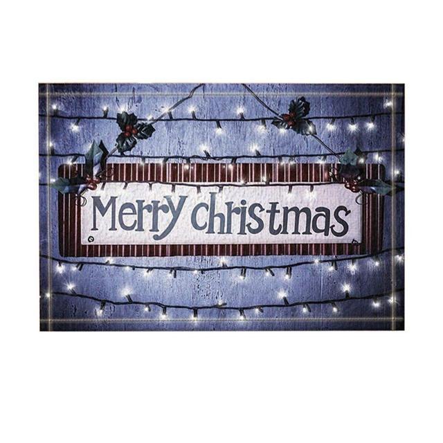 Western Decor Merry Christmas Against Shining Light String Bath Rugs