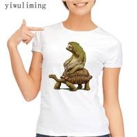 Womens T Shirts Fashion 2017 Tortoise Design T Shirt Sloth Riding Turtle Harajuku Funny Tee Shirts