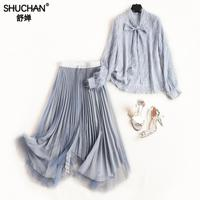Shuchan Women Clothes Two Piece Set Blouse With Tassel+irregular Skirts Elastic Waist Women Outfits 2019 Festival Outfit Rave