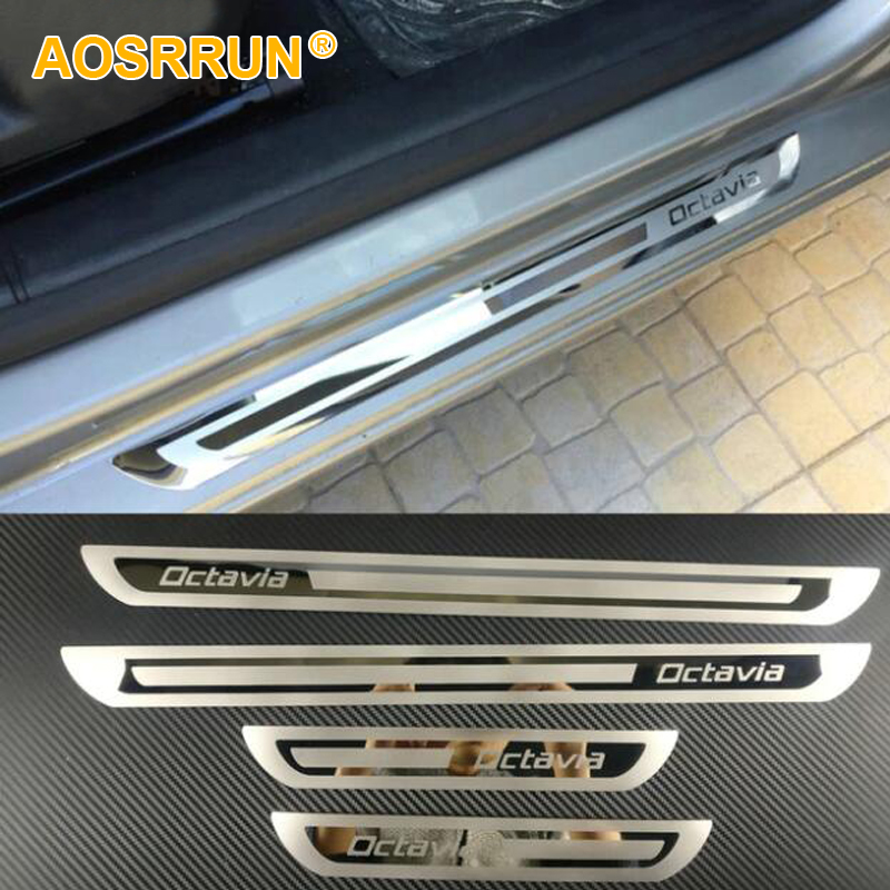 fit for Skoda Octavia a5 a7 A9 2009 2010 2011 2012 2013 2014 2015 2016 2017 2018 Stainless Steel Door Sill Plate car accessories(China)