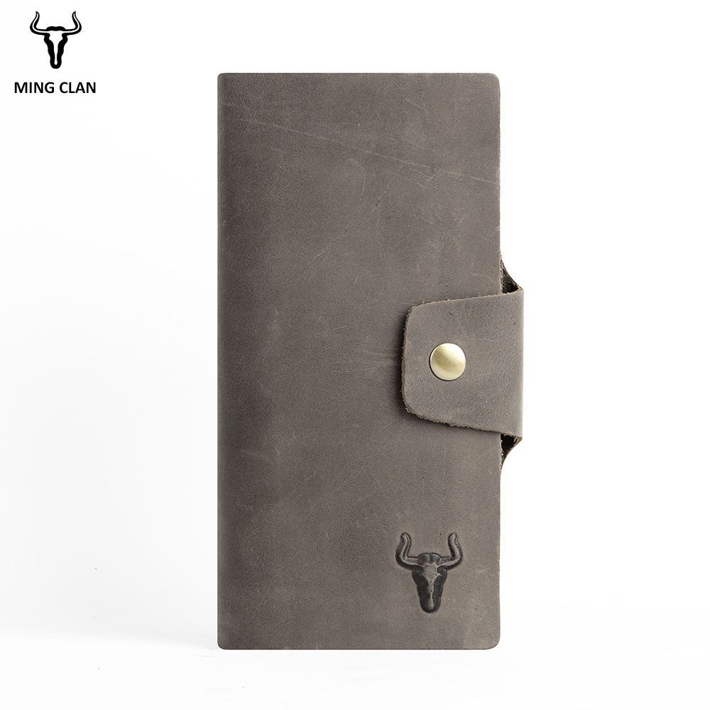 Mingclan Genuine Leather Long Wallet Men Female Male Cuzdan With Women Lady Zipper Clutch Walet Handy Coin Purse Rfid Portfolio