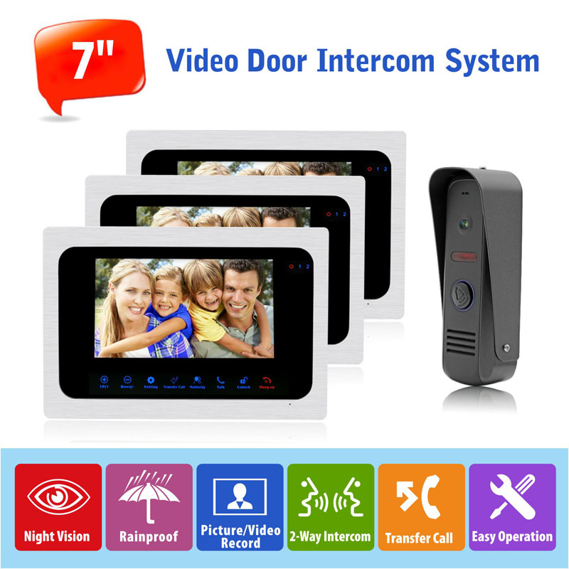 2016 New Design 1v3 Russian/English Touch LCD Monitor 7 inch Wired Audio Video Doorbell Door Phone Intercom Systems DC12V