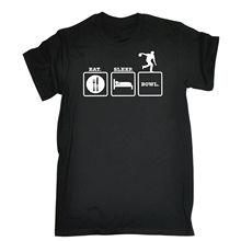 EAT SLEEP BOWL T-SHIRT Bowlinger Bowlser Strike Pin Funny Birthday Gift 123t  Metal Short Sleeve Casual Shirt Print T Shirt Men