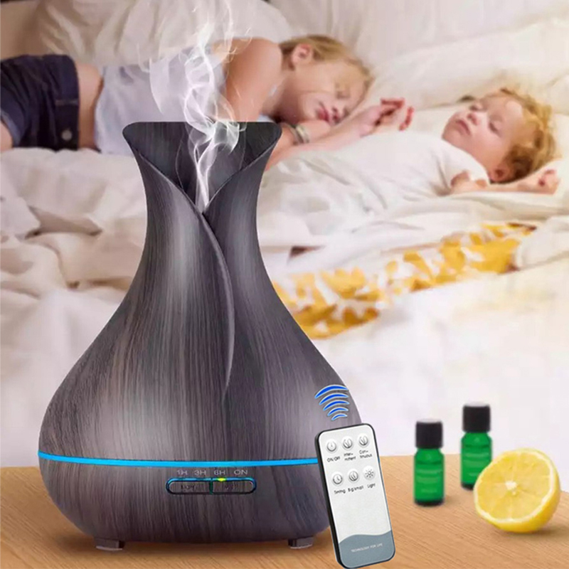 400ML Aroma Essential Oil Diffuser Ultrasonic Cool Mist Humidifier Aromatherapy Diffuser With Wood Grain For Home Mist Maker