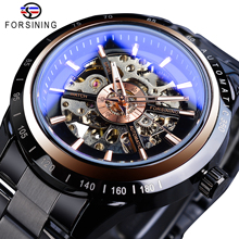Forsining Brand Steampunk Automatic Watch Men Casual Mechanical Transparent Skeleton Watches Black Steel Band Clock Dropshipping forsining golden skeleton mechanical watches men luxury brand watch automatic stainless steel casual wristwatch hollow out clock
