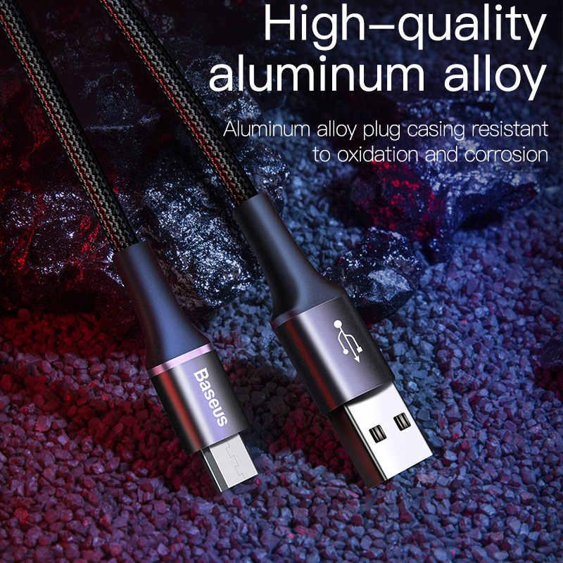 Baseus LED الإضاءة مايكرو USB كابل 3A سريع شحن شاحن سلك Microusb كابل ل سامسونج Xiaomi الروبوت الهاتف المحمول سلك الحبل 3m