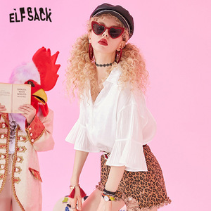 Image 3 - ELFSACK 2019 Zomer Nieuwe Toevallige Vrouwen Blouses Mode Ruches Basis Vrouwelijke Shirts Solid Butterfly Mouwen Wit Vrouw Kleding